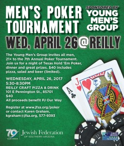 JFSA-YMG - Men's Poker Tournament @ Reilly Craft Pizza & Drink | Tucson | Arizona | United States