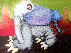 Monsters Under the Bed - Artwork by Curt Kiwak @ The Fine Art Gallery at the Tucson J | Tucson | Arizona | United States