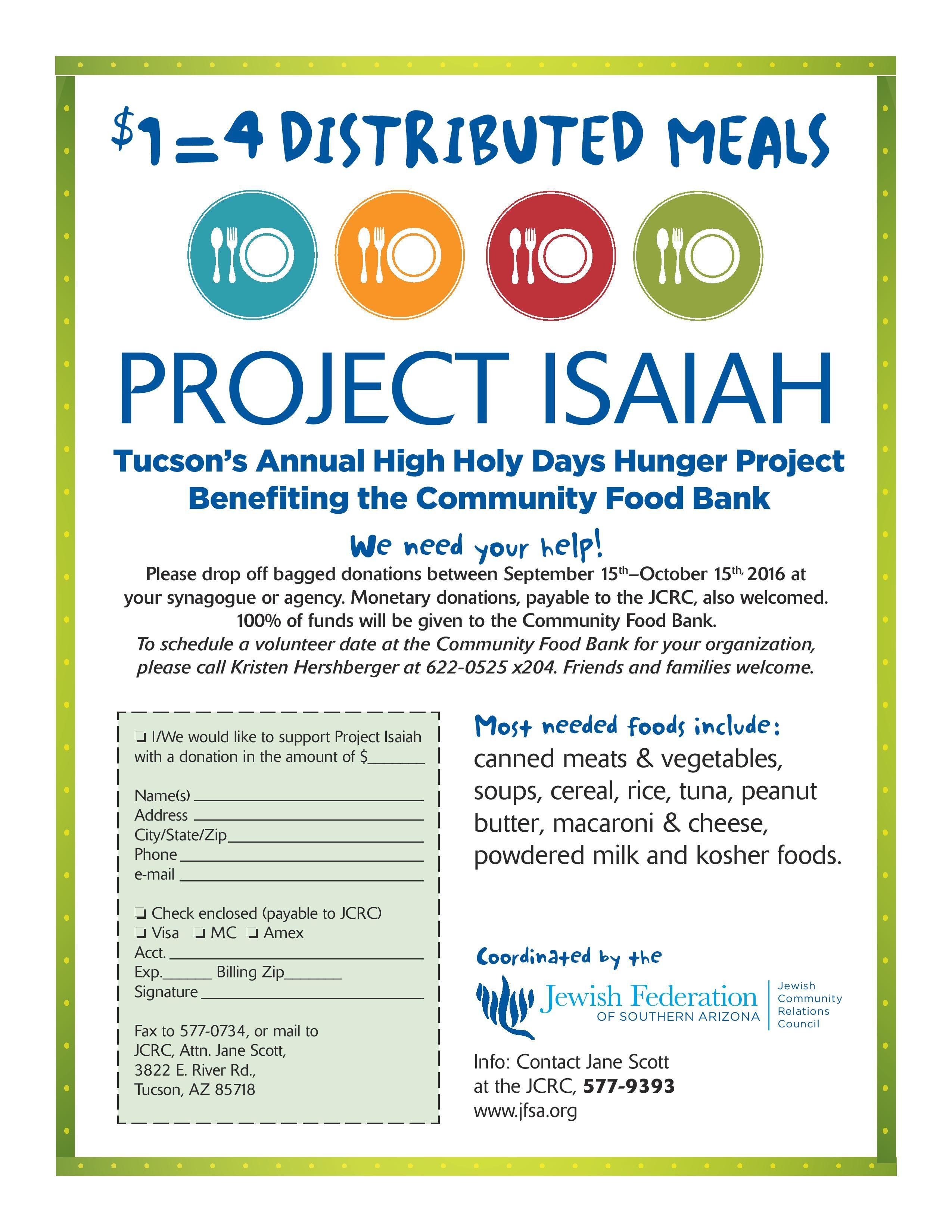 Project  Isaiah @ Synagogues and Agencies