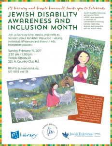 Pj Library & Temple Emanu-El Celebrate Jewish Disability Awareness & Inclusion Month @ Temple Emanu-El | Tucson | Arizona | United States