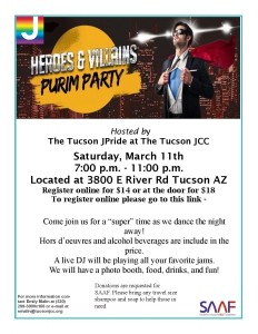 JPride Heroes & Villans Purim Party @ Tucson JCC | Tucson | Arizona | United States