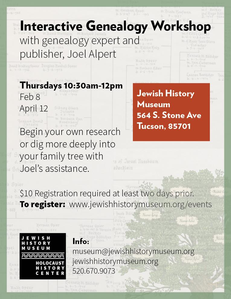 Interactive Genealogy Workshop @ Jewish History Museum | Tucson | Arizona | United States