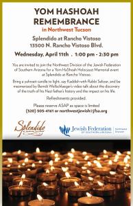 Yom HaShoah Remembrance in Northwest Tucson @ Splendido at Rancho Vistoso | Oro Valley | Arizona | United States