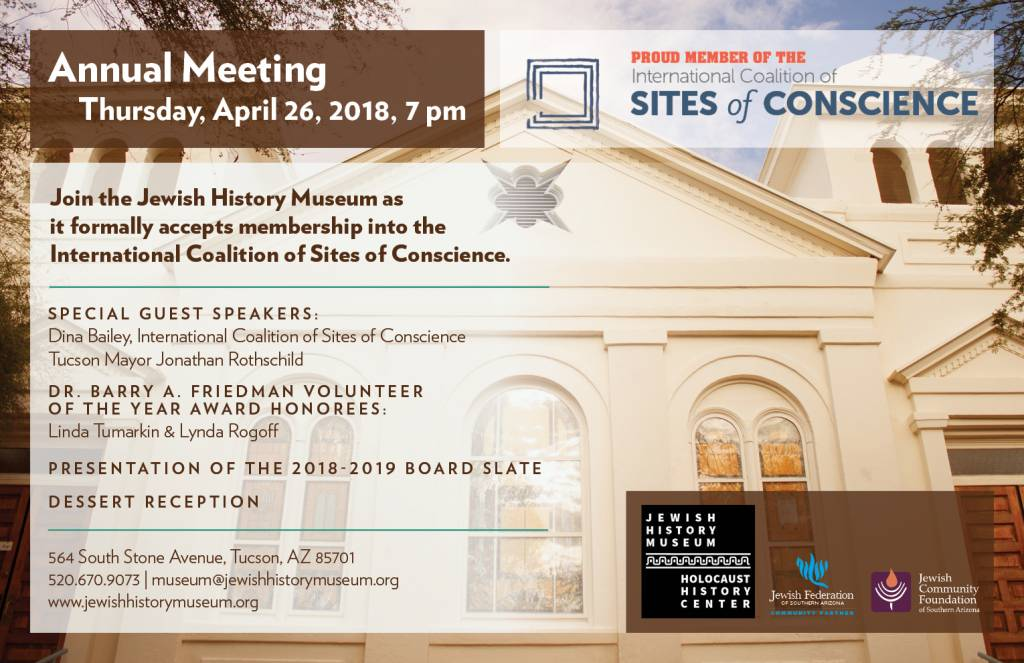 Annual Meeting: Membership into the International Coalition on Sites of Conscience @ Jewish History Museum | Tucson | Arizona | United States