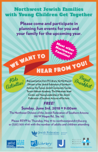 Northwest Jewish Families with Young Children Get Together @ Northwest Division of the Jewish Federation of Southern Arizona | Oro Valley | Arizona | United States