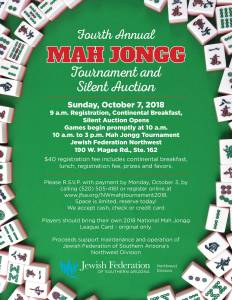 4th Annual Mah Jongg Tournament & Silent Auction @ Northwest Division Office | Oro Valley | Arizona | United States