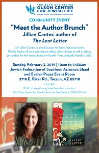 Community Event: Meet the Author Brunch with Jillian Cantor @ Jewish Federation of Southern Arizona's Shaol and Evelyn Pozez Event Room