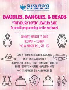 """Baubles, Bangles, & Beads """"Previously Loved"""" Jewelry Sale @ The Olson Center for Jewish Life"""