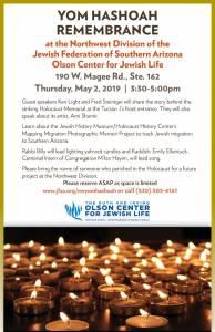 Yom Hashoah Remembrance @ Northwest Division/Olson Center for Jewish Life | Oro Valley | Arizona | United States