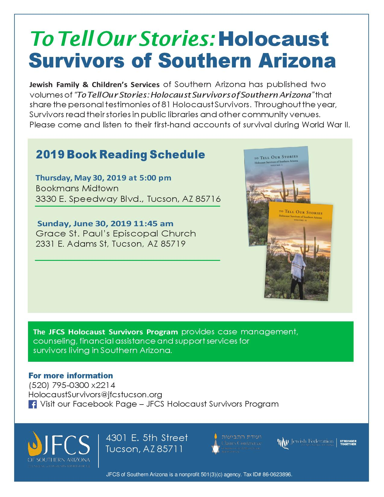 To Tell Our Stories: Holocaust Survivors of Southern Arizona @ Bookmans Midtown