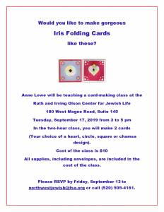 Card Making Class with Anne Lowe @ The Ruth & Irving Olson Center for Jewish Life
