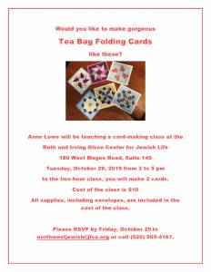 Card-Making Class with Anne Lowe @ The Ruth & Irving Olson Center for Jewish Life